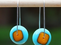 Blue/Marigold Dot Earrings